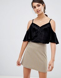 Girls On Film Velvet Cami Top With Lace Inserts Black