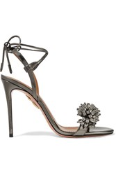 Aquazzura Monaco Crystal Embellished Metallic Leather Sandals Gunmetal