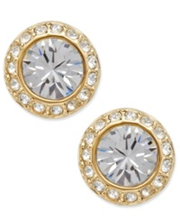 Swarovski Earrings Gold Tone Crystal Circle Stud