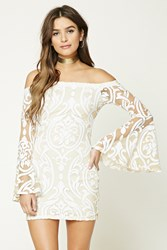 Forever 21 Baroque Print Burnout Dress Nude White