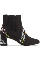 Sophia Webster Liliana Embroidered Suede Ankle Boots Black