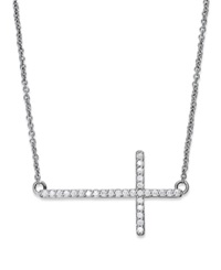 Macy's Diamond Sideways Cross Pendant Necklace In Sterling Silver 1 5 Ct. T.W.