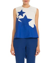 Delpozo Bold Star Print High Low Blouse White