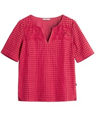 Sandwich Broderie Anglaise Top With Lace Detail Red