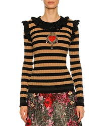 Dolce And Gabbana Striped Crochet Trim Sweater Black Brown Black Brown