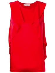 Jucca Rouched Tank Top Women Silk Spandex Elastane 42 Red