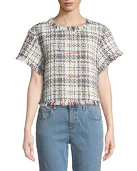 Cupcakes And Cashmere Emelda Cropped Tweed Short Sleeve Top Ivory