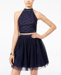 Trixxi Juniors' 2 Pc. Open Back Tulle Fit And Flare Dress Navy