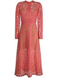 Elie Saab Long Sleeve Lace Dress Pink And Purple