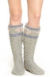 Lemon Women's Snowflake Pattern Slipper Socks With Faux Fur Lining Flannel