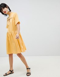 Pieces Tea Dress With Button Detail Buff Yellow