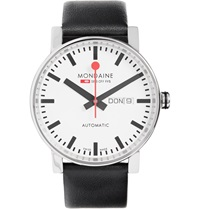 Mondaine Evo Big Day Date Stainless Steel And Leather Watch Black
