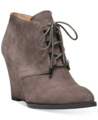 Franco Sarto Lennon Lace Up Wedge Ankle Booties Women's Shoes Nimbus Grey