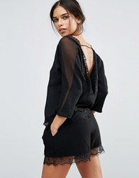 Amy Lynn Long Sleeve Open Back Top With Lace Detail Black