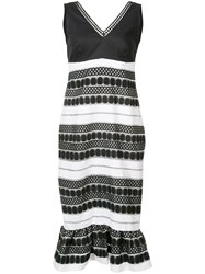 Nicole Miller Sleeveless Embroidered Dress Women Linen Flax Acrylic Polyester Viscose 2 Black
