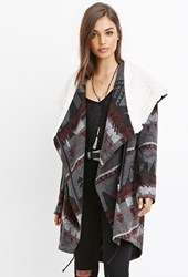 Forever 21 Geo Patterned Faux Shearling Jacket Grey Burgundy
