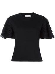 See By Chloe Fringed T Shirt Black