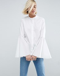 Asos White Shirt With Bell Sleeve White
