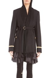 Givenchy Women's Wool Flannel Military Jacket With Attached Cashmere Scarf