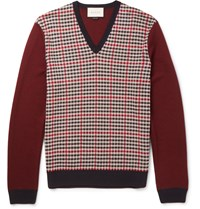 Gucci Checked Wool And Cashmere Blend Sweater Burgundy