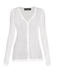 Dolce And Gabbana V Neck Chevron Knit Silk Cardigan