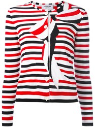 Thom Browne Striped Bow Print Cardigan Women Cotton 40 Red