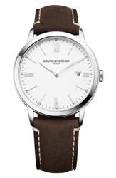 Baume And Mercier Leather Strap Watch 40Mm White Brown