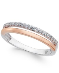 Macy's Diamond Two Tone Band 1 8 Ct. T.W. In 14K White And Rose Gold Or 14K White And Yellow Gold White Gold Rose Gold