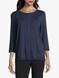Betty And Co. Chiffon Trimmed Top Navy