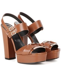 Roger Vivier Embellished Leather Sandals Brown
