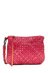 Christopher Kon Woven Leather Crossbody Pink