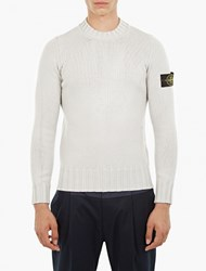 Stone Island Grey Chunky Knit Wool Sweater