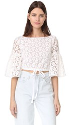 Milly Floral Embroidery Lydia Top White