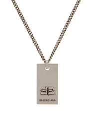 Balenciaga Bb Logo Chain Necklace Silver