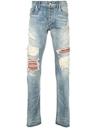 Fagassent Distressed Red Panel Skinny Jeans Blue