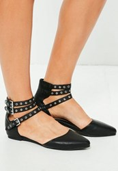 Missguided Black Multi Strap Pointed Ballerina Shoes