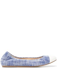Lanvin Tweed Cap Toe Ballerinas Blue