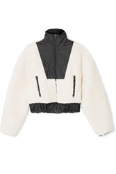 3.1 Phillip Lim Cropped Shell Paneled Wool Blend Fleece Bomber Jacket Neutral