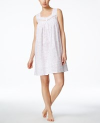 Eileen West Sleeveless Embroidered Nightgown White Lilac Florals