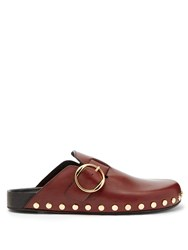 Isabel Marant Mirvin Stud Embellished Leather Clogs Burgundy