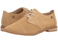 Hush Puppies Aiden Clever Light Tan Suede Perf Women's Slip On Dress Shoes