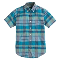 J.Crew Indian Cotton Short Sleeve Shirt In Noble Turquoise Plaid