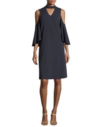 Nic Zoe Textured Cutout Flutter Sleeve Dress Plus Size Midnight