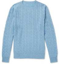 Anderson And Sheppard Cable Knit Cashmere Sweater Light Blue