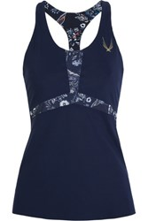 Lucas Hugh Selva Printed Stretch Tank Midnight Blue