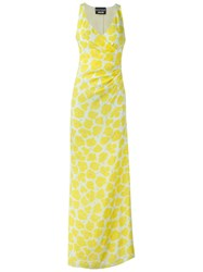 Boutique Moschino Floral Print Evening Dress Yellow And Orange