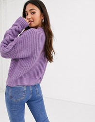 New Look Cable Knit Cardigan In Lilac Purple