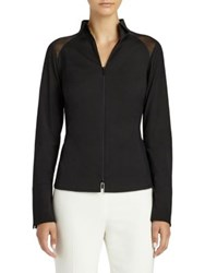 Lafayette 148 New York Esme Paneled Zip Front Blouse Black