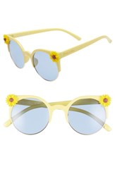Sam Edelman Circus By 50Mm Daisy Accent Round Sunglasses Yellow Blue Lens Yellow Blue Lens