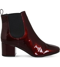 Office Love Bug Patent Leather Chelsea Boots Burgundy Patent